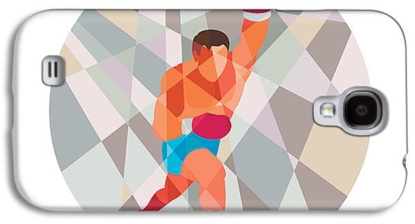 Heavyweight Digital Galaxy S4 Cases - Boxer Boxing Punching Circle Low Polygon Galaxy S4 Case by Aloysius Patrimonio