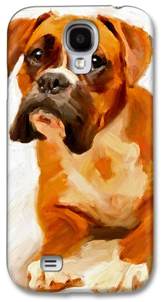 Boxer Galaxy S4 Cases - Boxer Dog Painting Poster Print of Original Painting Orange white tones unique Boxer dog gift idea Galaxy S4 Case by Vya Artist