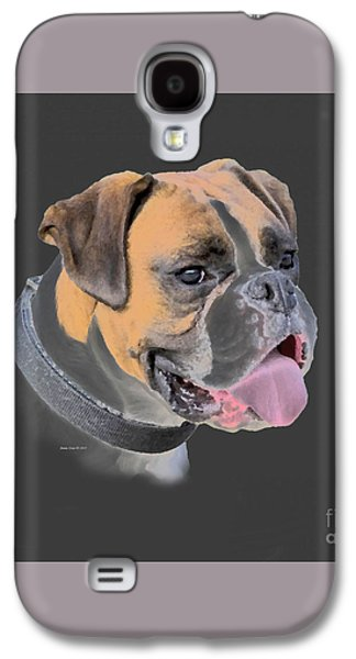 Boxer Galaxy S4 Cases - Boxer Dog Portrait  Galaxy S4 Case by Annie Zeno