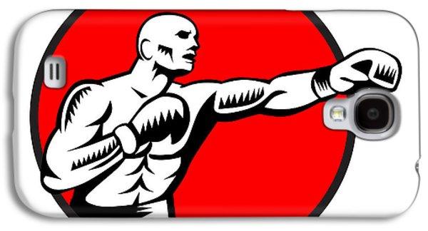 Boxer Jabbing Punching Circle Woodcut Galaxy S4 Case by Aloysius Patrimonio