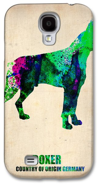 Best Sellers -  - Puppy Digital Art Galaxy S4 Cases - Boxer Poster Galaxy S4 Case by Naxart Studio