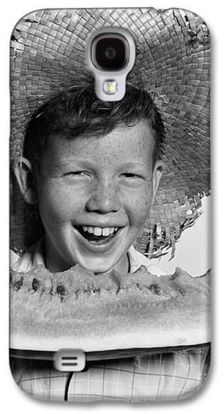 Boy Eating Watermelon, C.1940-50s Galaxy S4 Case by H. Armstrong Roberts/ClassicStock