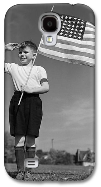 Boy Holding American Flag & Saluting Galaxy S4 Case by H. Armstrong Roberts/ClassicStock