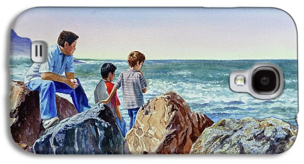 Beach Landscape Galaxy S4 Cases - Boys and The Ocean Galaxy S4 Case by Irina Sztukowski