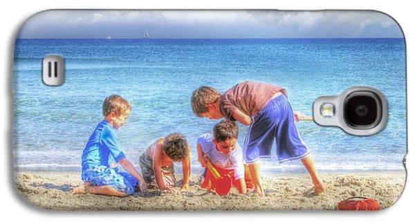 Beach Landscape Galaxy S4 Cases - Boys Will be Boys Galaxy S4 Case by Debra and Dave Vanderlaan
