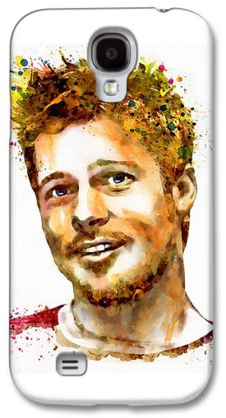 Modern Digital Digital Digital Galaxy S4 Cases - Brad Pitt Watercolor Portrait Galaxy S4 Case by Marian Voicu