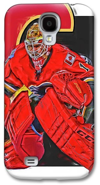 Brian Elliott Calgary Flames Oil Art Galaxy S4 Case by Joe Hamilton