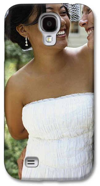 Strapless Dress Galaxy S4 Cases - Bride And Groom Outside At Wedding Galaxy S4 Case by Gillham Studios