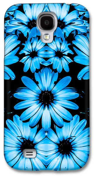 Nature Abstracts Galaxy S4 Cases - Bright Blue Daisies Galaxy S4 Case by Heather Joyce Morrill