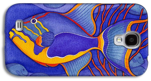 Triggerfish Paintings Galaxy S4 Cases - Bright Blue Triggerfish Galaxy S4 Case by Laura Nikiel
