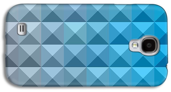 Blue Abstracts Galaxy S4 Cases - Bright Cerulean Blue Abstract Low Polygon Background Galaxy S4 Case by Aloysius Patrimonio