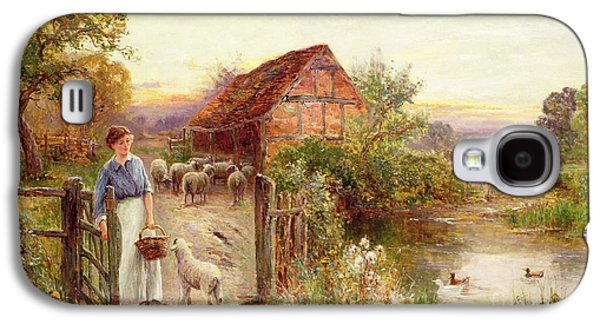 Farm Galaxy S4 Cases - Bringing Home the Sheep Galaxy S4 Case by Ernest Walbourn