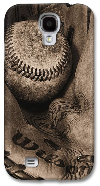Baseball Photographs Galaxy S4 Cases - Broken In BW Galaxy S4 Case by JC Findley