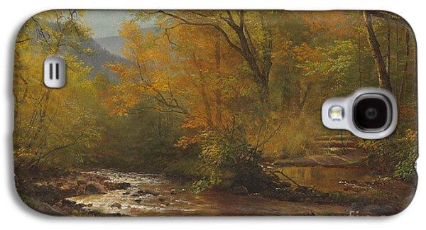 Wilderness Paintings Galaxy S4 Cases - Brook in woods Galaxy S4 Case by Albert Bierstadt