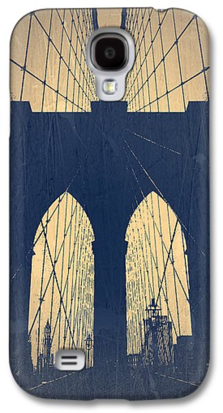 European City Digital Art Galaxy S4 Cases - Brooklyn Bridge Blue Galaxy S4 Case by Naxart Studio