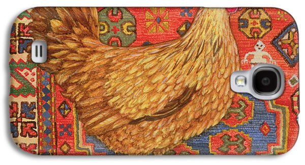 Persian Carpet Galaxy S4 Cases - Brown Carpet Chicken Galaxy S4 Case by Ditz