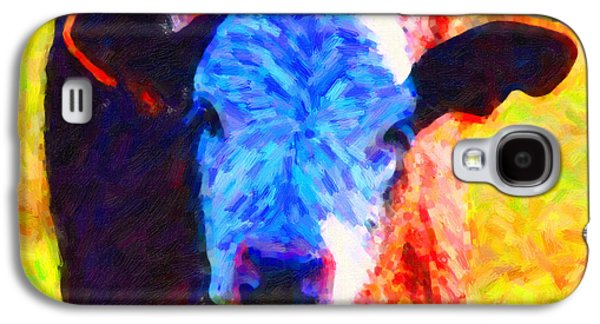 Cow Digital Galaxy S4 Cases - Brown Cow . Painterly Galaxy S4 Case by Wingsdomain Art and Photography