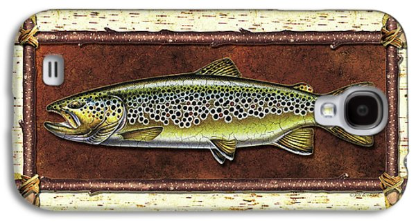 Flyfishing Galaxy S4 Cases - Brown Trout Lodge Galaxy S4 Case by JQ Licensing