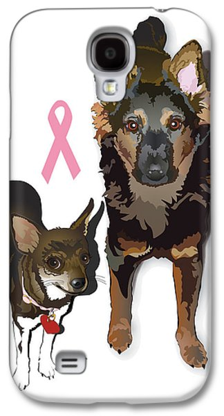 Puppies Digital Galaxy S4 Cases - Bubo and Bear Against Breast Cancer Galaxy S4 Case by Donna Newsom