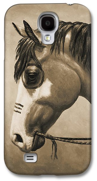 Old Western Photos Galaxy S4 Cases - Buckskin War Horse in Sepia Galaxy S4 Case by Crista Forest