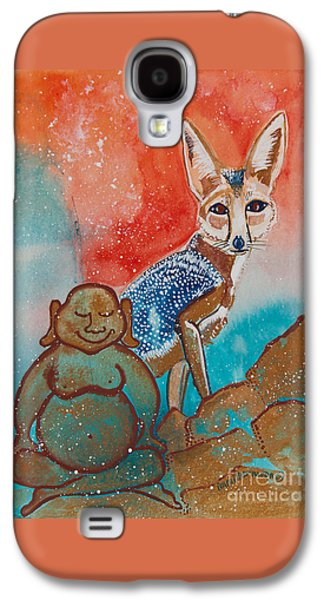 Fox Kit Paintings Galaxy S4 Cases - Buddha and the Divine Kit Fox No. 1373 Galaxy S4 Case by Ilisa  Millermoon
