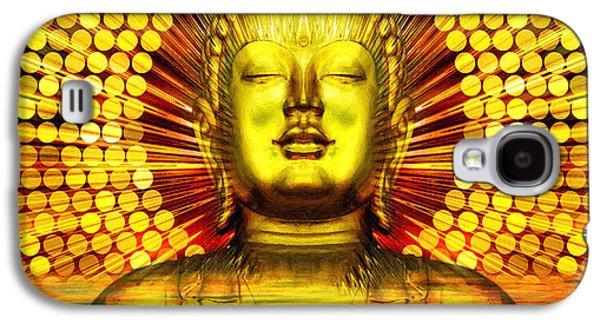 Statue Portrait Mixed Media Galaxy S4 Cases - Buddha Effulgence Galaxy S4 Case by Khalil Houri
