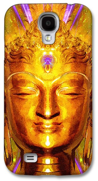 Statue Portrait Mixed Media Galaxy S4 Cases - Buddha Smile Galaxy S4 Case by Khalil Houri