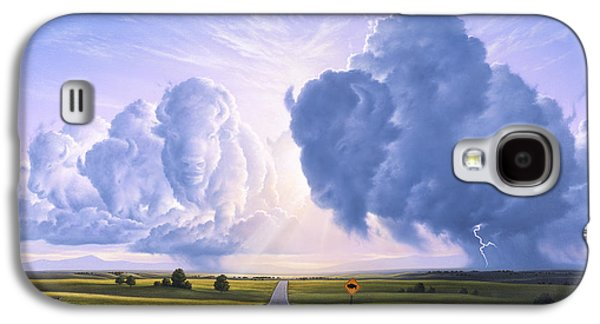 Bison Paintings Galaxy S4 Cases - Buffalo Crossing Galaxy S4 Case by Jerry LoFaro