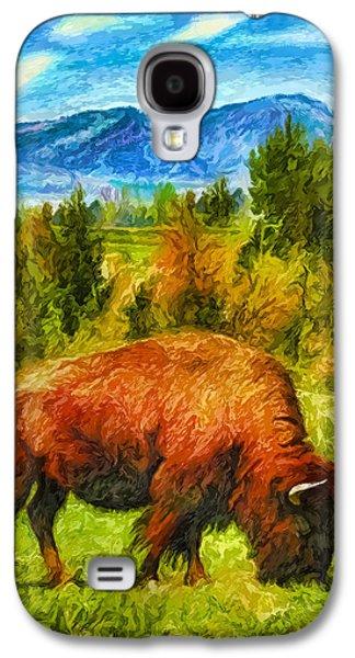 Bison Digital Art Galaxy S4 Cases - Buffalo Dreams Galaxy S4 Case by Joel Bruce Wallach