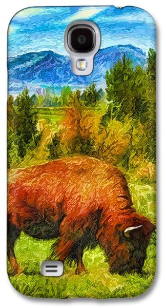 Bison Digital Galaxy S4 Cases - Buffalo Grazing Under Blue Sky - Boulder County Colorado Galaxy S4 Case by Joel Bruce Wallach
