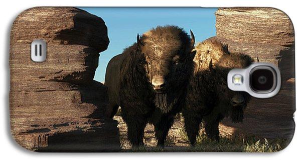 Bison Digital Art Galaxy S4 Cases - Buffalo Guard Galaxy S4 Case by Daniel Eskridge