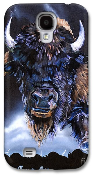 Bison Mixed Media Galaxy S4 Cases - Buffalo Medicine Galaxy S4 Case by J W Baker