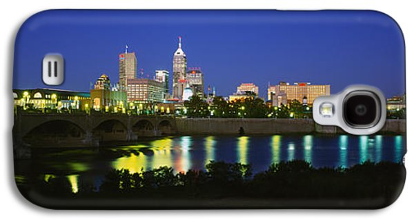 Indiana Scenes Galaxy S4 Cases - Buildings Lit Up At Dusk, Indianapolis Galaxy S4 Case by Panoramic Images