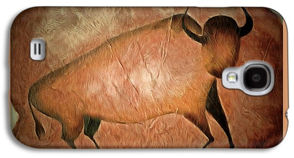Bull Like Cave Painting - Primitive Art Galaxy S4 Case by Michal Boubin