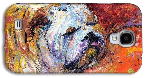 Sleeping Dog Galaxy S4 Cases - Bulldog Portrait painting impasto Galaxy S4 Case by Svetlana Novikova
