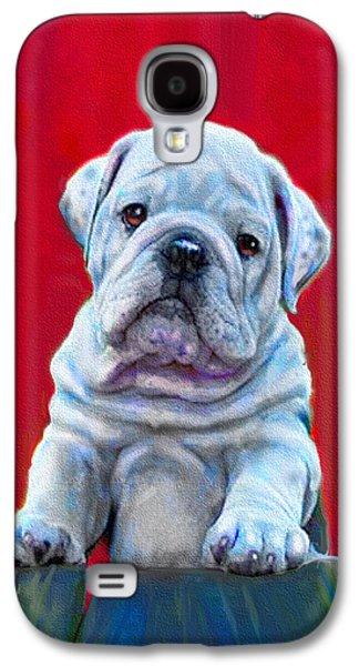 Puppy Digital Art Galaxy S4 Cases - Bulldog Puppy On Red Galaxy S4 Case by Jane Schnetlage