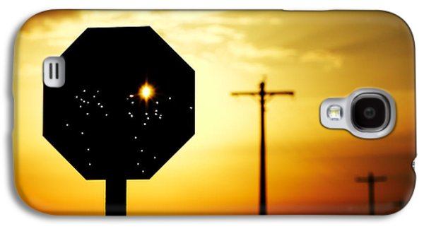 Bullet-riddled Stop Sign Galaxy S4 Case by Todd Klassy