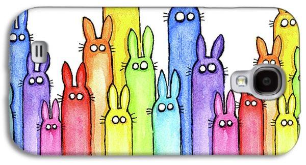Bunny Rainbow Pattern Galaxy S4 Case by Olga Shvartsur