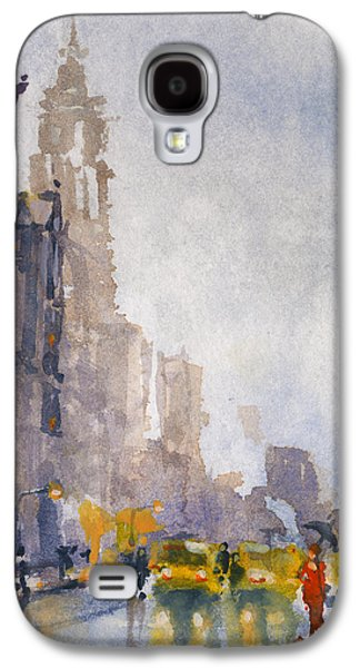 New York Paintings Galaxy S4 Cases - Busy Streets of New York Galaxy S4 Case by Kristina Vardazaryan