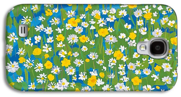 Green And Yellow Galaxy S4 Cases - Buttercups and Daisies Galaxy S4 Case by Sarah Gillard
