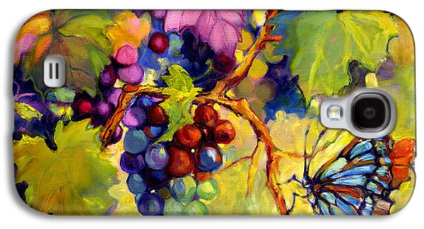 Gold Lime Green Galaxy S4 Cases - Butterfly and Grapes Galaxy S4 Case by Peggy Wilson