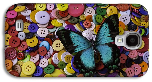 Butterfly On Buttons Galaxy S4 Case by Garry Gay