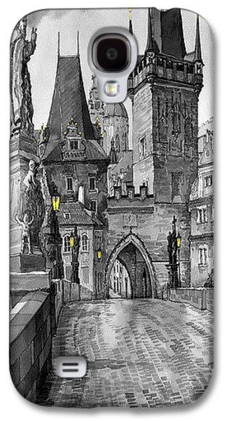 Landscape Digital Art Galaxy S4 Cases - BW Prague Charles Bridge 02 Galaxy S4 Case by Yuriy  Shevchuk