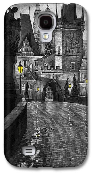 Landscape Digital Art Galaxy S4 Cases - BW Prague Charles Bridge 03 Galaxy S4 Case by Yuriy  Shevchuk