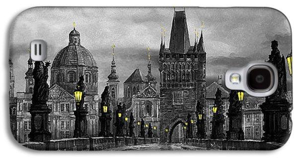 Light Galaxy S4 Cases - BW Prague Charles Bridge 04 Galaxy S4 Case by Yuriy  Shevchuk