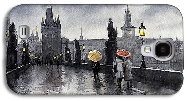 Cityscape Digital Galaxy S4 Cases - BW Prague Charles Bridge 05 Galaxy S4 Case by Yuriy  Shevchuk
