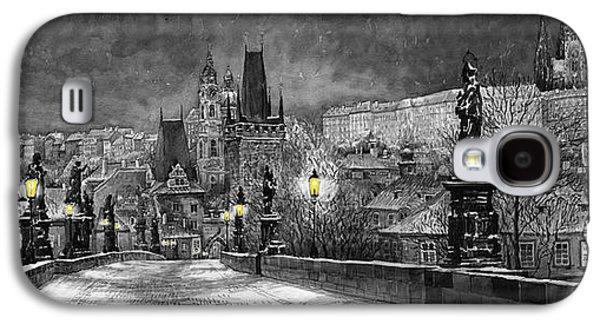 Cityscape Digital Galaxy S4 Cases - BW Prague Charles Bridge 06 Galaxy S4 Case by Yuriy  Shevchuk
