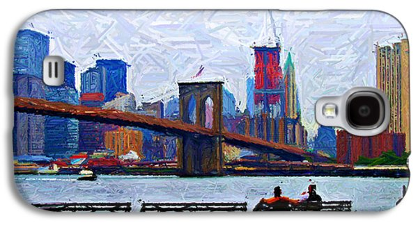 Brooklyn Bridge Digital Art Galaxy S4 Cases - By the Water Too Sketch Galaxy S4 Case by Randy Aveille