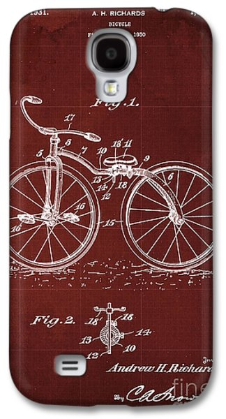 Bycicle Patent Blueprint Year 1930 Red Vintage Poster Galaxy S4 Case by Pablo Franchi