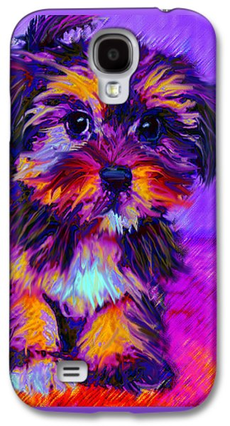 Best Sellers -  - Puppy Digital Art Galaxy S4 Cases - Calico Dog Galaxy S4 Case by Jane Schnetlage